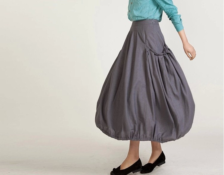 4c98c607c56 Baggy Skirt Plus Size Khaki Linen Skirt Pleated Skirt With Two Pockets